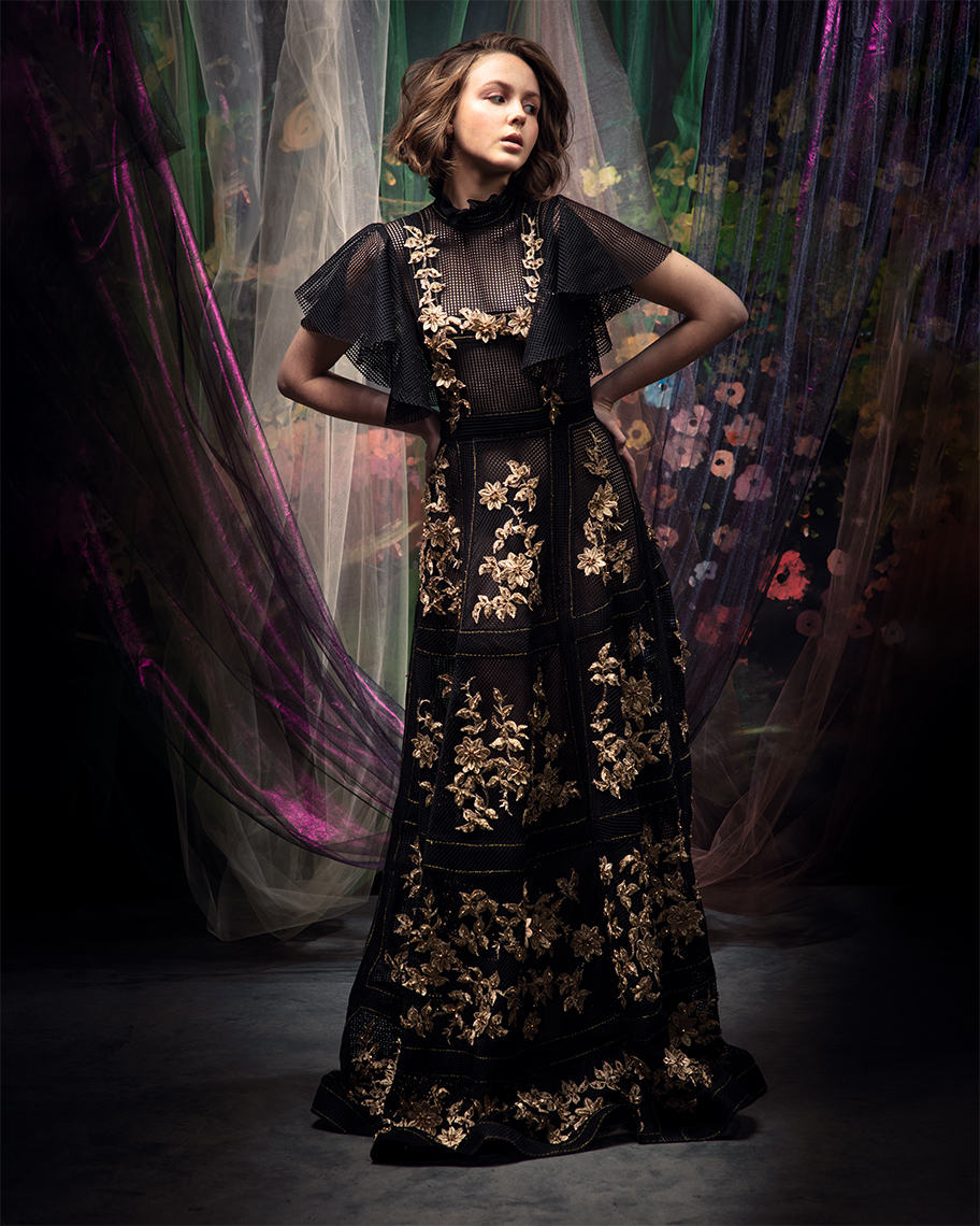 model-in-black-gold-couture-gown
